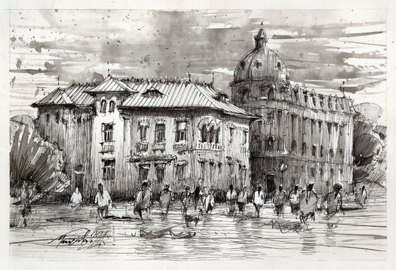 Urban ink sketch drawing, Bucharest, Romanian architecture.