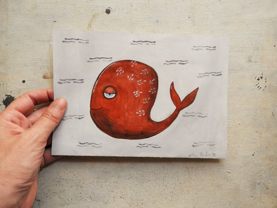 The funny red fish - oil on paper