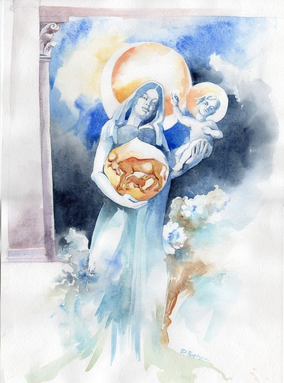 Blue Madonna with Child