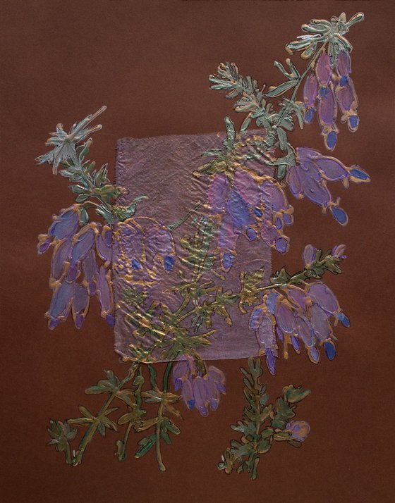 Lilac heather on brown