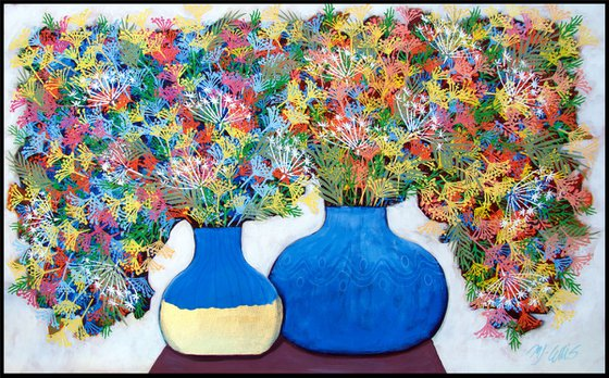 Summertime, 110 x 70 XL acrylic on canvas with gold leaf