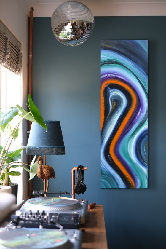 Forty-five, 40x120 cm, Original abstract painting, oil on canvas