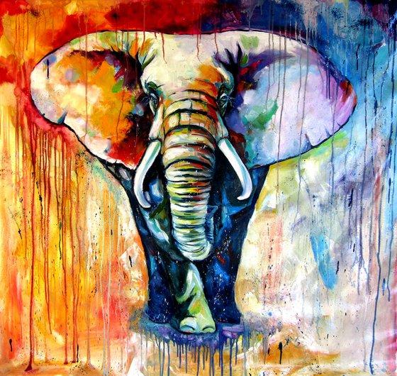 Majestic colorful elephant -XL size /130 x 135 cm