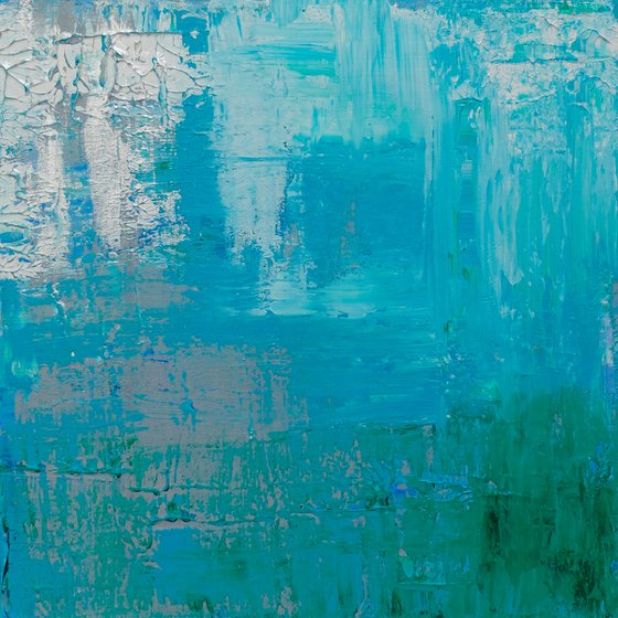 Blue/Green/Silver Abstract #183