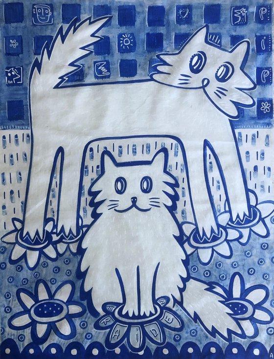 BLUE CATS 90x110cm