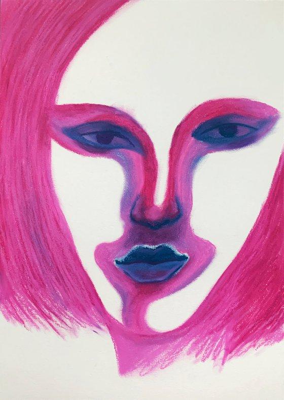 """PINK CLOWN"" - GIFT ORIGINAL HOME DECOR NAIVE ART OFFICE INTERIOR"
