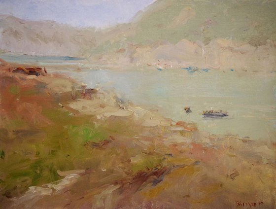 Lakeside, Landscape, Original oil Painting, Impressionism, Signed, One of a Kind