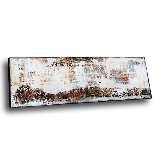 """EXCITING JOURNEY - 59"""" x 19.7"""" - ABSTRACT PAINTING WITH STRUCTURES - WHITE BEIGE GOLD"""