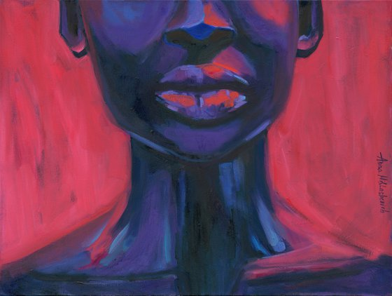 ANTIFRAGILE - large African American art canvas, black queen portrait, empowered expressionist woman purple painting