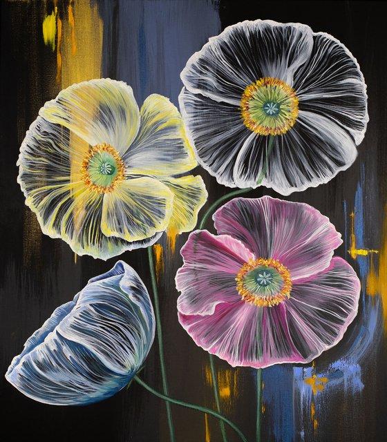 Jellyfish flowers / Original painting with fantastic flowers / Anemone flowers