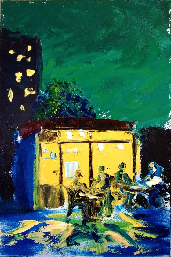 Night small cafe. Plein Air Painting