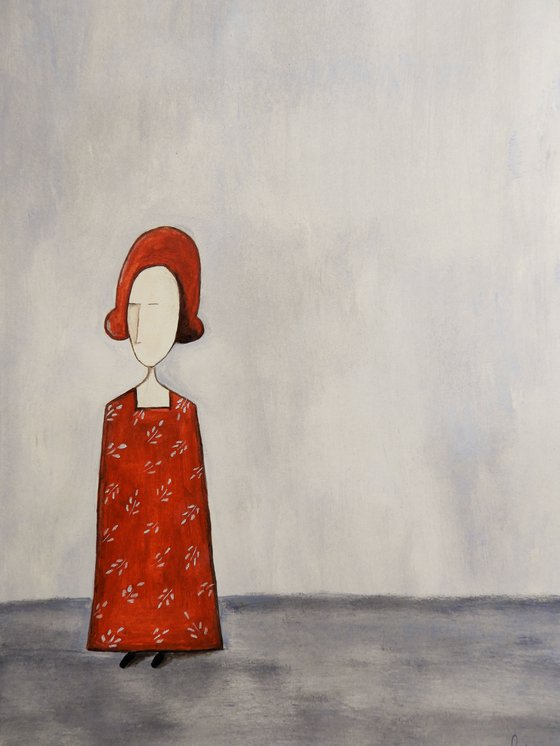 The Lady in red- oil on paper