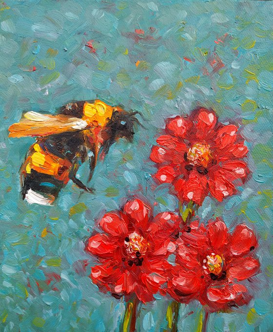 Small pictures series -38- Bee- 1(24x20cm, oil painting, ready to hang)