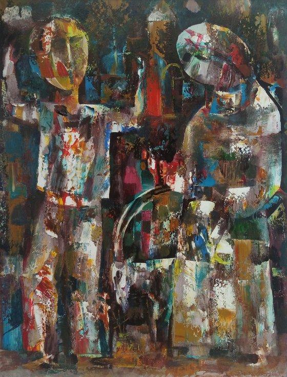 Stubborn goat(50x41cm, oil painting, paper)