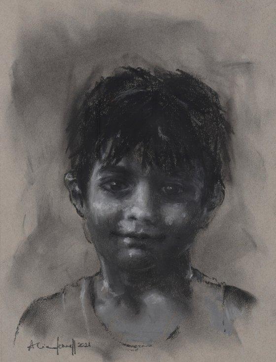 Charcoal Boy Portrait - original charcoal drawing