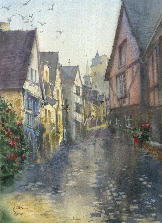 Morning. Oldcity. Dinan. France, Brittany.