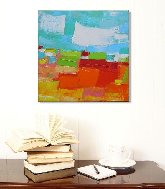 Perfect place 4 - palette knife impasto painting impressionistic alla prima original small artwork