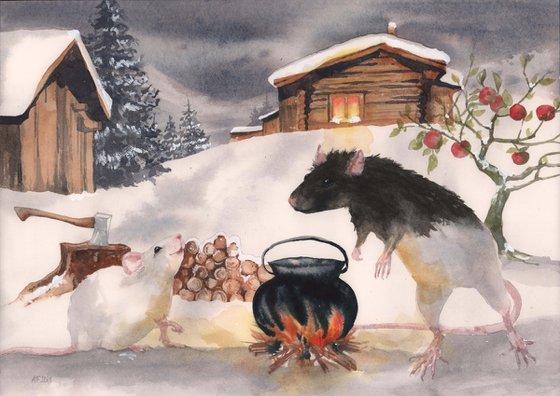 Snow Rat Cabin - original watercolour painting