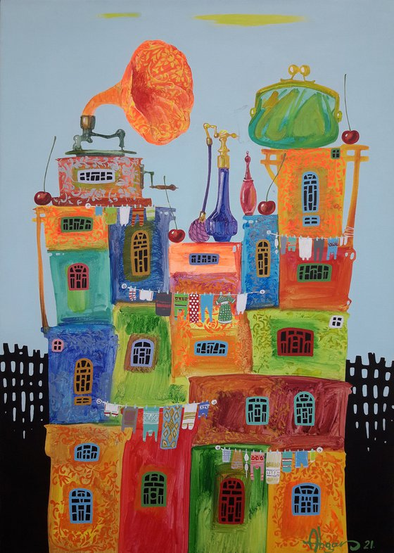 Childhood dreams-29 (50x70cm, oil painting, modern art, ready to hang)
