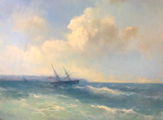 Ocean Breeze, Seascape Original oil Painting, Handmade artwork, Museum Quality, Signed, One of a Kind
