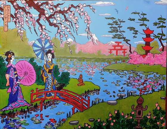 gieshas by the lake: ukiyo-e style