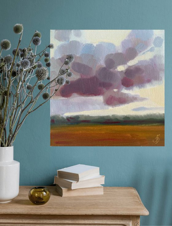 Summer, small abstract painting, landscape painting, ready to hang painting