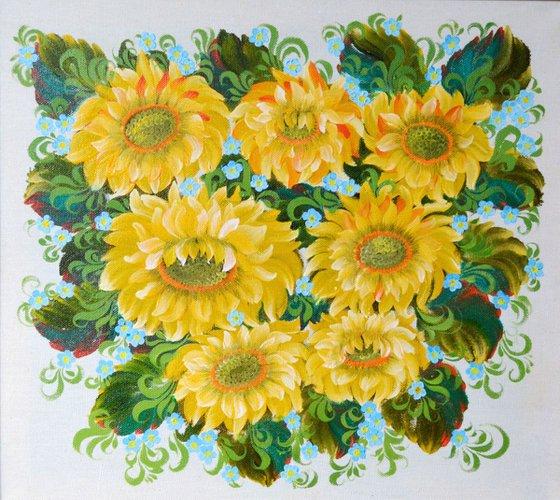sunflowers Ukrainian Petrikov national painting