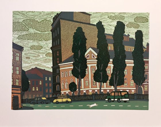 """linocut print with view of  St. Petersburg cityscape """"View of the Griboyedov Canal in St. Petersburg"""" Reduction linocut, 2019, 35 x 45 cm"""