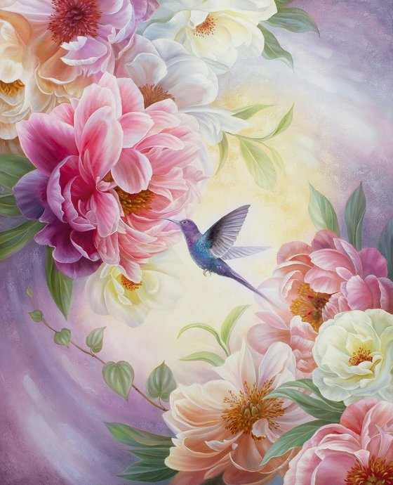 """""""Weightlessness"""", oil floral art with bird, flowers peonies painting"""