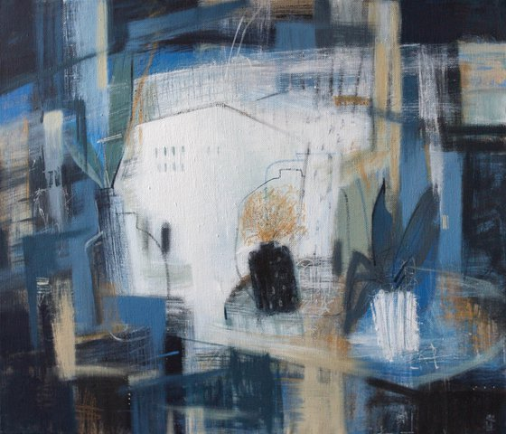 On the window - acrylic, home design, interior art, abstract, original art, blue, white