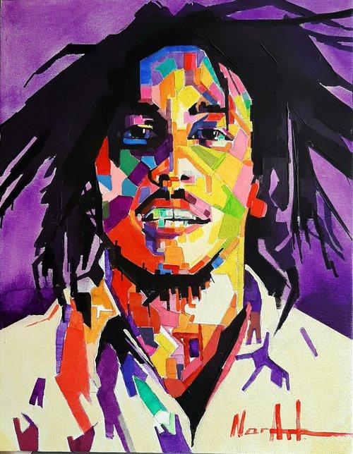 Bob Marley  35x45cm ,acrylic/canvas, ready to hang, Modern portraits