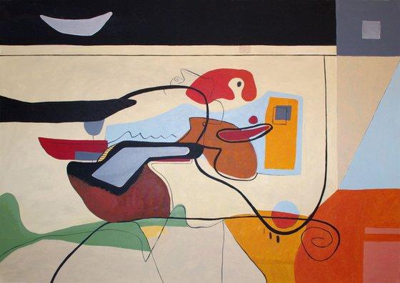 """Joy at home"" Abstract figurative Contemporary Art, Minimalism, Neo Mid century"