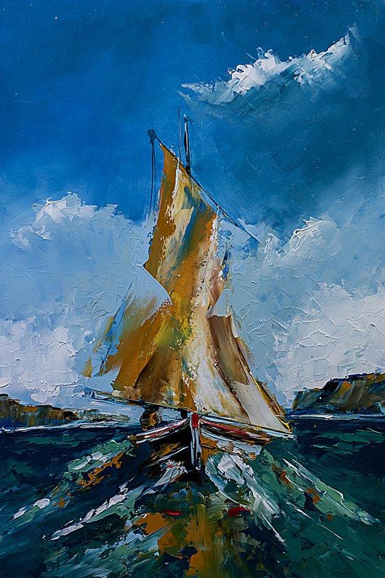 Boat on a rough sea. Scene from Adriatic sea.