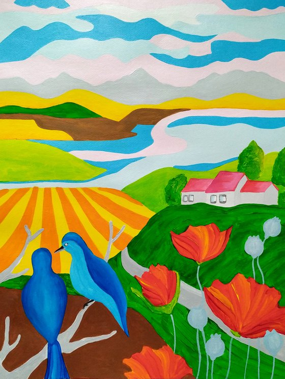 Spring country with birds and poppies