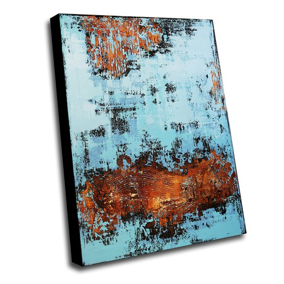 VENEZIA - 70 X 100 CMS - ABSTRACT PAINTING TEXTURED * GOLD * BLUE