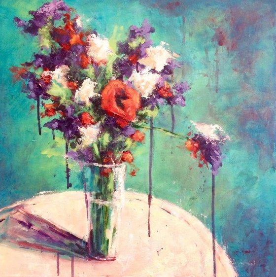 Flowers in Teal
