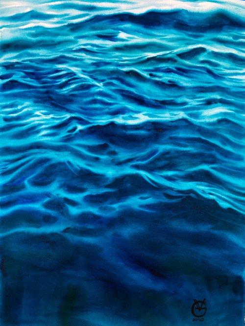 CALMNESS - original watercolor painting sea water blue depth