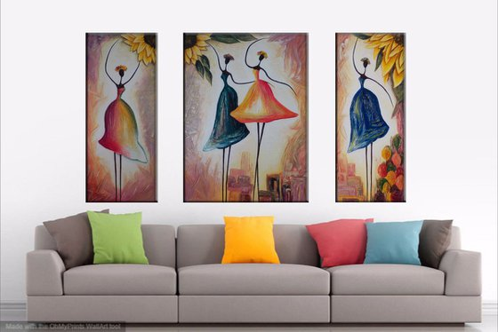 Ballerinas(30x70 50x70 30x70cm, mixed media painting)
