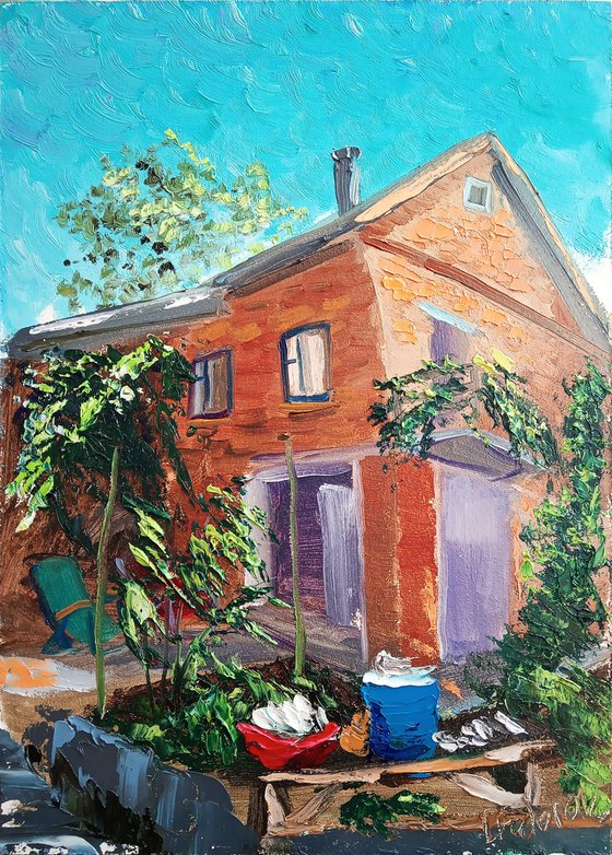 The yard of the country house Plein Air Painting